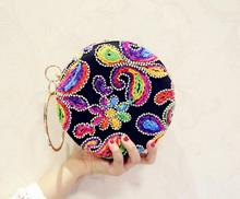 Silk Embroidery Women's Pearl Beaded Diamond Tellurion Evening Bag Bridal Wedding Round Ball Wrist Bag Clutch Purse Handbag(China)