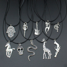 "[$5 minimum] 2016 Fashion Jewelry Vintage Silver Horse/Skull/Hand/Gun Pendant 17"" Short Children Necklace HOT001  Free Shipping"