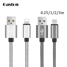 Nylon USB Data Sync Charger Cable  Micro USB Charging Cable Cord Wire For iPhone 7 6 6s 5s Plus ipad 4 IOS 10 Android Power Bank
