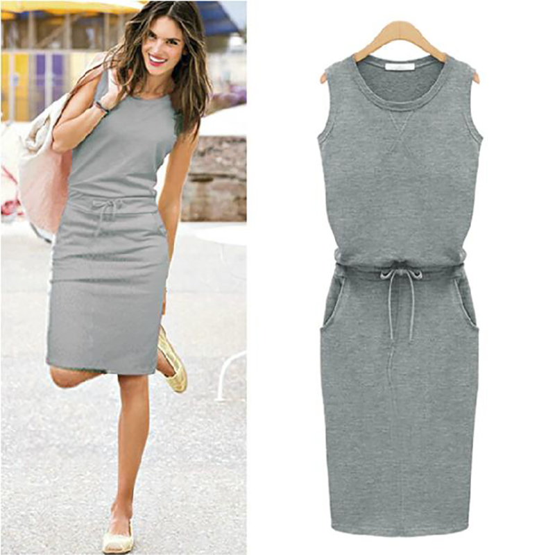 2018-Summer-Dress-Women-O-neck-Sleeveless-Casual-Work-Office-Dresses-Bodycon-Slim-Grey-Pencil-Dresses
