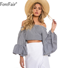 ForeFair Sexy Slash Neck Ruffles Plaid Crop Top Women Plus Size High Street Butterfly Sleeve Blouse(China)