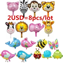 8 unids Mini Cebra y Tiger & monkey & lion & deer & cow & elephant & cerdo Cabeza de Animal Animales de helio Globos Foil Globos de Aire suppies fiesta temática