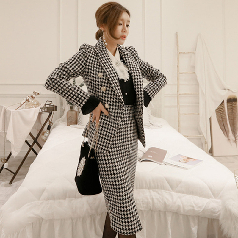 Elegant Houndstooth Women Skirt Suit One Button Slim Blazer & Mid-length Skirt 2019 Autumn Casual Plaid 2 Pieces Set feminino