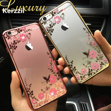 For iphone 7 7Plus Clear Lace Flower Diamond Mirror Metal Flash Frame+Soft Silicon Gel Case For iPhone SE 5 5s 6 6S Cover Back(China)
