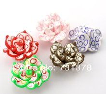 Wholesale 50 Pcs Mixed Polymer Clay Flower Charm Craft Loose Beads 25x14mm Making Jewelry DIY(China)