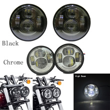 Fat Bob led headlight 4.65 inch Motorcycle head light Driving lamp for Harley Fat Bob Daymaker HID LED light Bulb H4 Headlamp
