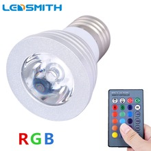 E27 E14 GU10 MR16 3W RGB LED Lamp 16 Color LED Spot Light with IR Remote Controller LED Bulb for Home Party Christmas Decoration(China)