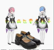 Re:Life in a Different World from Zero Rem Ram Cosplay lolita girls shoes school uniform single shoes(China)