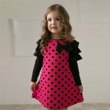 New 2017 Spring Dot Kid Girls Dresses/Children's Clothes Princess Gauze Lolita Style Long Sleeve Bowknot 4-7 Years