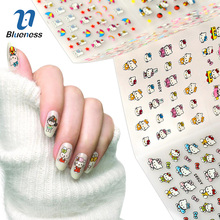 24 Sheet Hello Kitty Design Decals Cat Model Stamping Stickers For Nails Diy Beauty Bronzing 3D Nail Art Tips Sticker(China)