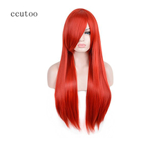 ccutoo Women's Bright Red 80cm/31.49Inch Long Straight Cosplay Wigs Halloween Party Wig(China)