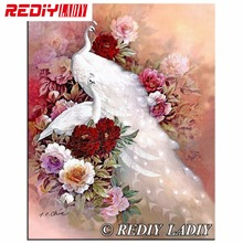 DIY 5D Round Diamond Painting White Peacock Love Cross Stitch Kits Diamond Mosaic Full Diamond Embroidery Patterns Rhinestones(China)