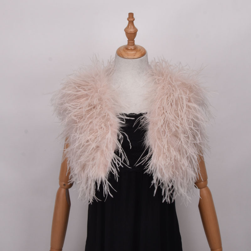 100% Blush Pink Ostrich Feather BRIDAL  Fur For Lady Women Evening Gown Wedding dress Bridesmaid Fur Wrap Shawls