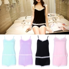 Women Lace Hem Camisole + Shorts Set V Neck Sexy Jams Pajamas Nightgown Pijama de Unicornio(China)