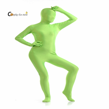 2017 Adult Full Body Spandex Lycra Zentai Suit Grass green Tight Suits Pure Color Halloween Party Unitard(China)