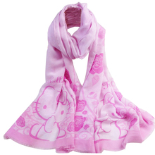 New Arrival Girls' Scarf Fashion Flora Hello Kitty Scarf Print Tassel Scarves Women Voile Shawl Scarf Pink 180*70cm(China)