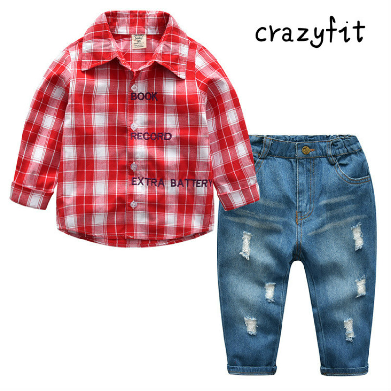 2018 spring new boy plaid long-sleeved shirt + jeans set, childrens shirt trousers<br>