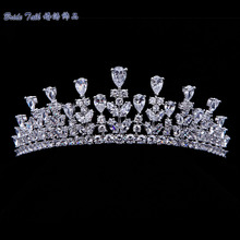 Full AAA CZ Tiara Crown Bridal Wedding Hair Jewelry Micro Pave Party Prom Hair Accessory Princess Queen Headband TR15013