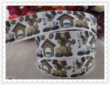 "2013 new arrival 7/8"" (22mm) dog printed grosgrain ribbon cute animals ribbon hair accessories 10 yards(China)"