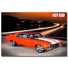 NICOLESHENTING Hot Rod Muscle Car Art Silk Fabric Poster Print Classic Car Pictures For Living Room Decor 011