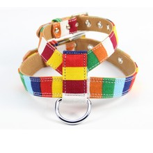 (1 pieces/lot) Pet dog accessories Canvas Pu Leather colorful Pet Dog harness