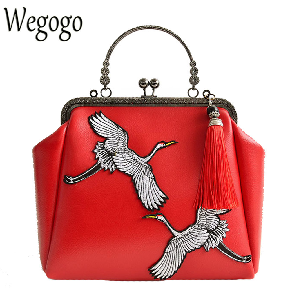 Women Day Clutch Crane Embroidery Tassel Chinese Han Dynasty Cross-Body Chain Tote Mori Girl Leather Shoulder Messenger Bag<br>