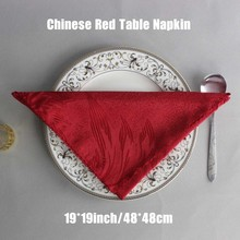 Chinese Restaurant Decorative Beige White Red Polyester Folding Cloth Hotel Square Table Napkin Banquet Serviette 50pcs/lot
