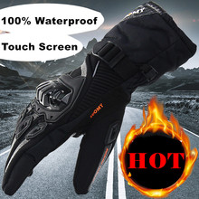 New Keep warm full finger 100% Waterproof Motorcycle Gloves Winter Touch Screen Racing Gloves Motosiklet guantes de moto XXL(China)