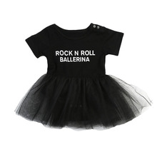 Pudcoco Infant Baby Girl Clothes Tulle Rock N Roll  Letter Print Romper Dress Princess Tulle Lace Dress Outfit Set 0-3Y