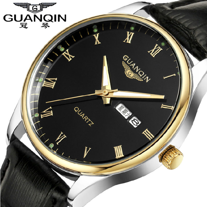 Men Watches 2017 Fashion Top Brand Luxury GUANQIN Quartz-Watch Waterproof Leather Strap Calendar Relogio Masculino 2018 Gift<br>