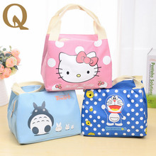 New 2017 Portable Cartoon Cute Hello Kitty Lunch Bag Insulated Cold Canvas Picnic Totes Carry Case For Kids Women Thermal Bag