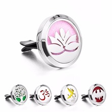 5pcs 316L Stainless Steel Round Design Diffuser Car Locket For 10Pads Aromatherapy Perfume Essential Oil Jewelry Clip Car