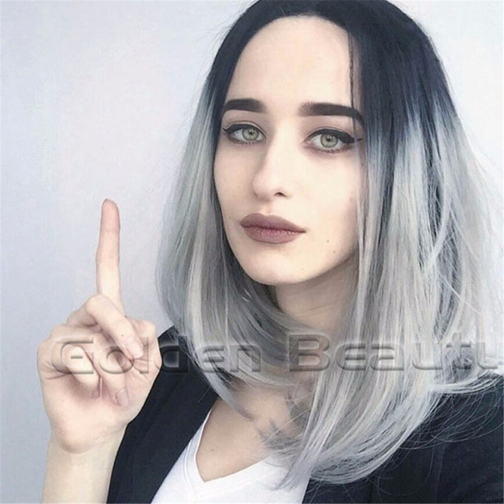 Free Shipping 12ombre gray synthetic hair cosplay wigs with hot selling straight ombre grey short BOB synthetic Wigs for women <br><br>Aliexpress