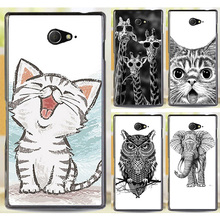 M2 Cute Cat Animal Giraffe Dog  Elephant  Cases For Sony Xperia M2 S50h Dual D2302 D2305 D2303 D2306 Phone Case Cover Shell