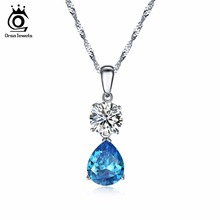 ORSA JEWELS New Fashion Silver Necklaces for Women with Charm Water Drop Blue Cubic Zirconia Special Gift Pendant Necklace ON120(China)