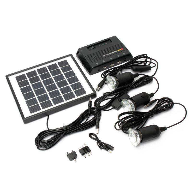22.5x19.5x1.5cm 4W 6V Solar Panel +3pcs 3.7v LED Light Lamp +5V 1000mAh Solar Power Bank USB Charger Solar Energy<br>