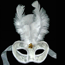 2018 Sexy White Lace Feather Masks Mardi Gras Masquerade Ball Masks Women Girls Wedding Dress Party Supplies Christmas New Year(China)