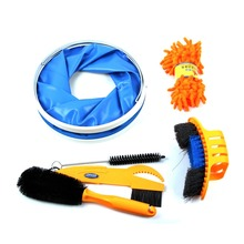 Bicycle Chain Cleaner Cycling Clean tire Brushes Tool kits set Mountain Road Bike Cleaning Gloves Accessories Folding Bucket(China)