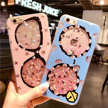 Buy Luxury Bling Glitter Glasses Phone cases iPhone 6 6S Coque Dynamic Liquid Quicksand Case iPhone 6 6S 7 8 X Plus Cover for $2.73 in AliExpress store