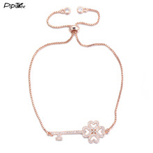 Pipitree 2017 Summer New CZ Clover Key Bracelet for Women 4 Colors Copper Chain Adjustable Crystal Bracelets Love Couple Jewelry(China)
