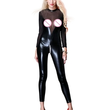 Buy Women Sexy transparente Lingerie Faux Leather Night Club wetlook Bodysuit Latex PVC Catsuit Zipper open crotch Erotic body suit