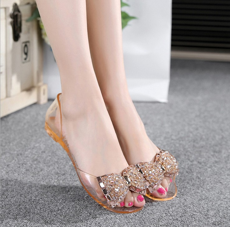 2017 fashion bowtie vwomens flat sandals with rhinestone transparent shoes woman jelly sandals summer style casual beach shoes<br><br>Aliexpress
