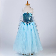 Fashion anna and elsa party present cospaly carnival dress girls(China)