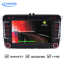 FUNROVER Quad-core HD FullTouch for VW Android 5.1 Car DVD GPS DVR For Volkswagen Passat B6 POLO GOLF 5 6 JETTA for seat leon