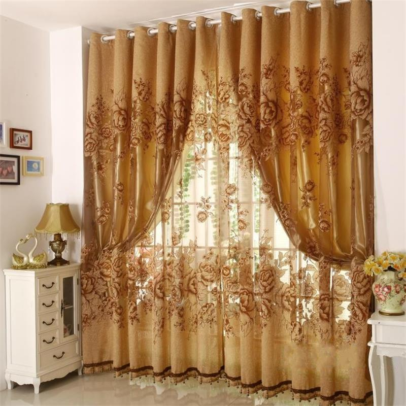zhh hot high quality european style luxury curtains design tulle punching curtain with blackout shade curtains for living room