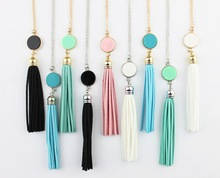 Personalized Initial Monogram Blanks Acrylic Disc Velvet Tassel Long Chain Pendant Necklaces for Custom Women Jewelry Mint Aqua(China)