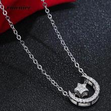 Xiacaier CZ Zircon Necklace For Women Sweet Moon Star Copper Simulated Diamond Necklaces & Pendants Jewelry Mothers Day Gift New