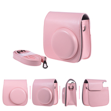 PU Protective Camera Bag Carrying Case Pouch Cover Protector Vintage w/ Strap Pocket for Fujifilm Instax Mini 8+/8s/8 Pink