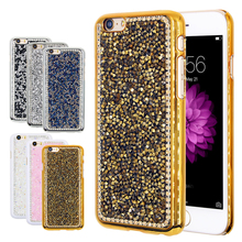 Hot! Girly Pure Handmade Shiny Diamond Case For Apple iPhone 6 6s Bling Gold Sliver Sequin Back Phone Cover for iphone 6 6s Plus