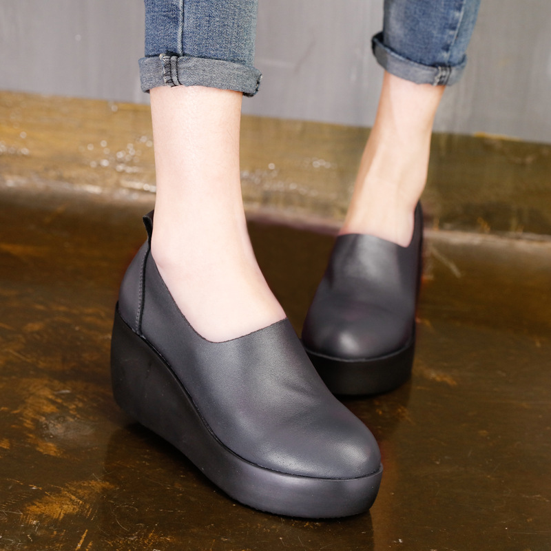 Discount 2017 Spring Womens Black Pumps Sale Genuine Leather Ladies 7CM Heel Shoes Brand Handmade Women Wedge Shoes Comfortable<br><br>Aliexpress
